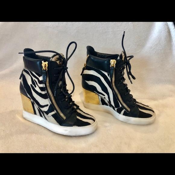 9b40a2d7ed6 Giuseppe Zanotti Shoes   Zebra Print Wedges   Poshmark